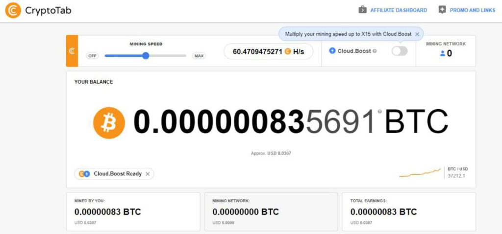 ขุดเหรียญ Bitcoin ด้วย เว็บเบราว์เซอร์ Cryptotab